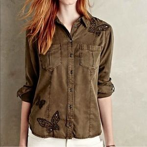 Anthropologie Embroidered Butterfly Top Buttondown